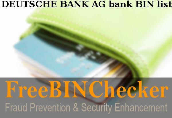 Deutsche Bank Ag Bin Liste Uberprufen Sie Die Bankidentifikationsnummern Von Deutsche Bank Ag Finanzinstitut